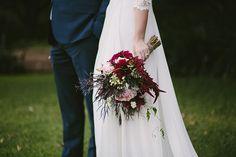 LOUISE + NICK // #maroon #deep #red #flowers #romantic #bride #bridal #bouquet #wedding #sydney #thegrounds #photographer