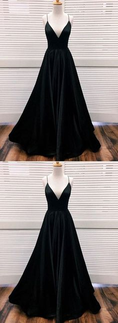 Prom Dresses Beautiful, Black v neck satin long prom dress, black evening dress, Looking for the perfect prom dress to shine on your big night? Prom Dresses 2020 collection offers a variety of stunning, stylish ball. Black Evening Dresses, Black Prom Dresses, Formal Dresses, Dress Black, Long Dresses, Maxi Dresses, Party Dresses, Ladies Dresses, Dress Long