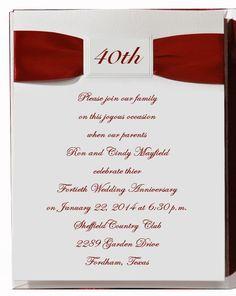 40th wedding anniversary napkins | 40th%20Wedding%20Anniversary%20Invitations%20with%20Ribbon%20Item ...