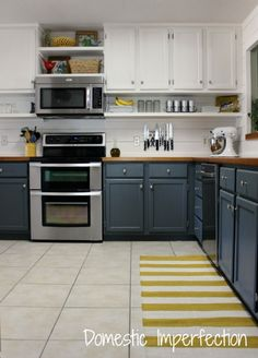 Budget Kitchen Remodel - painted tow tone cabinets, raised cabinets, floating shelf, butcher block countertops