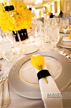 beautiful yellow and grey table settings for a #wedding #reception