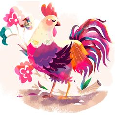 2017 will be the Chinese New Year of the Rooster. Thank you so much to everybody for your amazing comments, likes and support in Your comments are my favourite, and they really make my day! ✨✨✨ Happy 2017 everyone. Chicken Tattoo, Chicken Art, Rooster Illustration, Book Illustration, Rooster Tattoo, Sparrow Art, Bird Art, Art Inspo, Watercolor Art