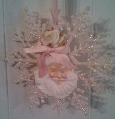 Shabby Cottage Chic Pink Roses hp Glass Glitter Snowflake Christmas Tree Ornament in Collectibles   eBay jennifers petal palace