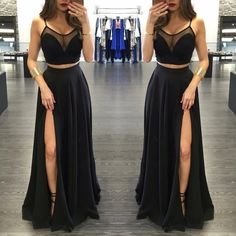 Two Pieces Black Prom Dress, Sexy Deep Scoop