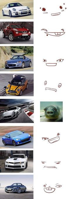 some cars and their facial expressions (art not mine) - Imgur