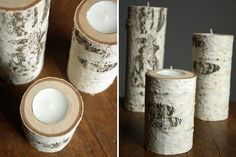 Make these beautiful candle holders out of natural birch. Just replace the tea light when it burns out and you can enjoy these forever.