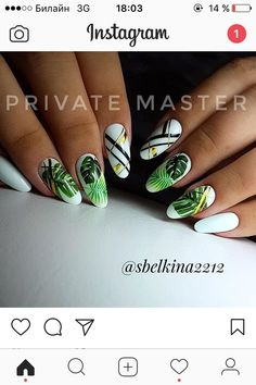 Holiday beach fashion inspiration Ideas for 2019 Spring Nails, Summer Nails, Cute Nails, Pretty Nails, Hair And Nails, My Nails, Nails 2017, Manicure Y Pedicure, Green Nails
