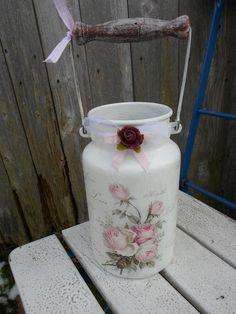 *Deko Alte kleine Milchkanne Romantik Rosen*