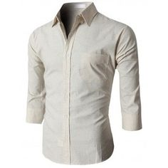 Doublju Men's Button Down Shirts With 3/4 Sleeves Pointed Collar (KMTSTL0208)