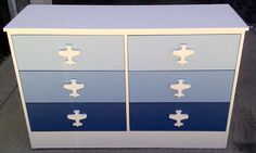 Cute Ombre Airplane Dresser, check out how to create an inexpensive custom look for your boy's bedroom!