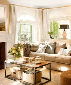 Home Design Ideas Home Living Room, Living Room Designs, Living Room Decor, Living Spaces, Beige Sofa, Cuisines Design, Trendy Home, Cozy House, Home Decor Inspiration