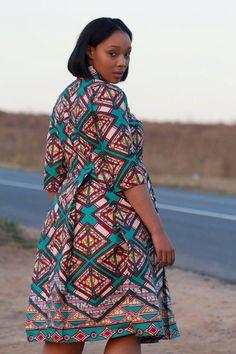 Multi coloured african print dress ankara by EssieAfricanPrint