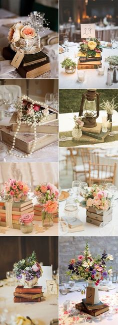 vintage books inspired wedding centerpiece decoration ideas #ad