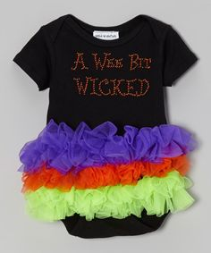 Take a look at this Black 'A Wee Bit Wicked' Ruffle Bodysuit - Infant by Moxie Couture on #zulily today!