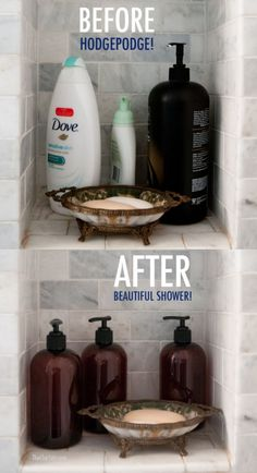 Home Solution - Want to create some ambiance and feel like your bathroom is an escape to a spa? Bottle all your products into attractive bottles. Plus Life Hacks You Needed to Know Yesterday on Frugal (Diy Bathroom Hacks) Diy Bathroom, Bathroom Hacks, Bathroom Organization, Small Bathroom, Bathroom Ideas, Bathroom Storage, Budget Bathroom, Bathroom Cabinets, Bathroom Interior