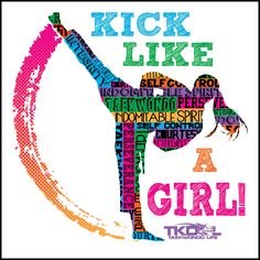 GIRL KICK! - TAEKWONDO T-SHIRT -Yes!- Kick Like a Girl! -MST