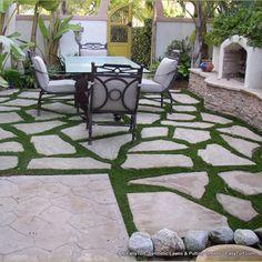 Artificial grass & stone