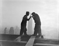 The construction of the RCA building....Two man smoking on their break during the construction of the RCA building in 1932.