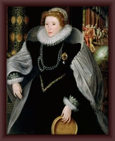Sieve Portrait Queen Elizabeth in a lavish gown with ruff and jewellery
