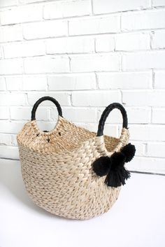 Basket with Pom Poms and Tassels