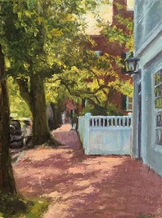 Main Street Nantucket, Afternoon Light by Susan Jositas Oil ~ 12 inches x 9 inches