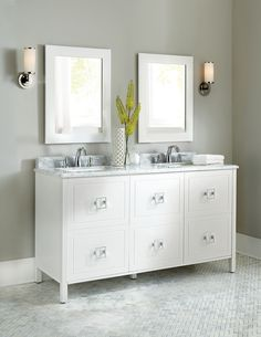 Geometric and so unique. This double bath vanity turns heads with is simple lines, square drawers and modern handles. Linen Cabinets, Bath Cabinets, White Sink, White Vanity, Double Bath, Double Vanity, Dream Bathrooms, Beautiful Bathrooms, Custom Bathroom Cabinets