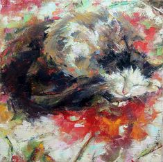 """Daily Paintworks - """"Cat and Kitten"""" - Original Fine Art for Sale - © Valerie Lazareva Cat Face Drawing, Magical Paintings, Kitten For Sale, Super Cat, Cat Tattoo, Cat Design, Picture Design, Fine Art Gallery, Crazy Cats"""