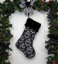 Hey, I found this really awesome Etsy listing at https://www.etsy.com/listing/167818969/goth-punk-christmas-stocking-black-and