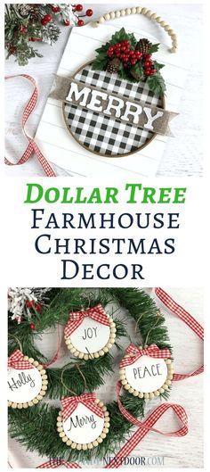 Dollar Tree Farmhouse Christmas Ornaments - The Latina Next Door