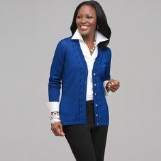 jones ny sweaters | Jones New York Long Sleeve V-Neck Cable Cardigan , ($109 with ...