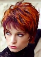 red short hairstyle with violet highlights, modern look