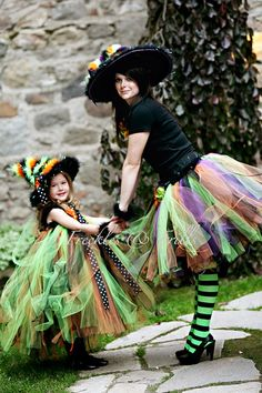 Witches!!!-- Halloween love the little girls witch coustume colors