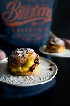 Hokkaido milk buns with honey shaved almonds, stuffed with pineapple custard and raspberry jam.