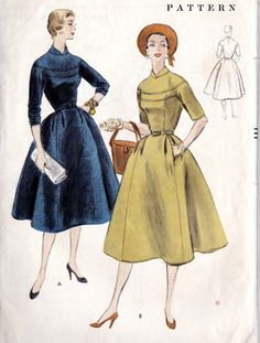 """1950s Misses One Piece Dress Vintage Sewing Pattern, I love Lucy, Rockabilly, Full Skirt, Vogue 8438 bust 34"""" uncut. $20.00, via Etsy."""