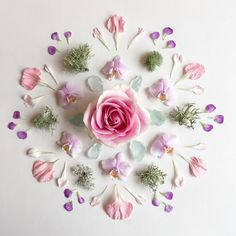 a mandala DIY @urbanoutfitters blog. Sea glass, lichen, and soft pinks and purples are so pretty together!