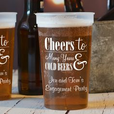 22 Oz navy stadium cups printed with design and 2 lines of custom print in Fabulous lettering style and White imprint Engagement Party Favors, Engagement Party Dresses, Engagement Party Decorations, Wedding Engagement, Wedding Decor, Rustic Wedding, Wedding Ideas, Personalized Cups, Personalized Wedding