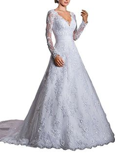HSD Womens Sexy V Neck Long Sleeves Wedding Dress Bridal Gown With Trailing -- Check out this great product. (Note:Amazon affiliate link)