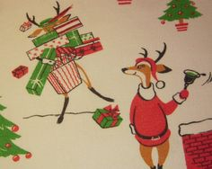 Vintage CHRISTMAS Towel Eames Reindeer Shop & Play Santa Signed