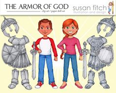 "this blog has some really cute {free} graphics to use. Pictured is an ""armor of god"" paper doll set for lesson activity."