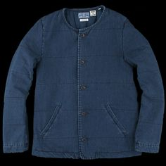 UNIONMADE - BLUE BLUE JAPAN - Lightweight Cotton Filling Inner Jacket in Indigo The sizing is a little impractical for your average American but the style and materials are great. Another piece that would be perfect for layering on a cold day(sb)