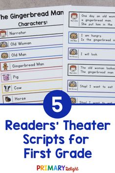 Engage your beginning readers with these fun readers theater scripts. They are perfect for first grade readersand and include 5 classic folktales, like The Gingerbread Man, The Little Red Hen, Three Little Pigs, Three Billy Goats Gruff, and Goldilocks and the Three Bears. Readers theater is a fun way to practice reading while building fluency. It can be done as a repeated read during guided reading, or used for a classroom play. These scripts also work well for late kindergarten. First Grade Reading, First Grade Classroom, Shared Reading, Guided Reading, Kindergarten Reading, Reading Activities, Partner Reading, Classroom Routines, Readers Theater