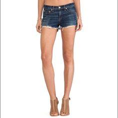 Rag & Bone Cutoff Denim Shorts New without tags. Heavy whiskering and frayed, cutoff hems.  Style: W1930K273, Mila Color: Doheny Size: 25 rag & bone Shorts Jean Shorts