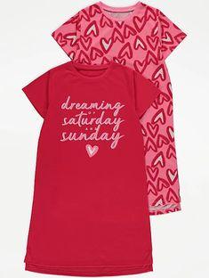 Red Heart Print Nightdresses 2 Pack Girls Sleepwear, Heart Print, Latest Fashion For Women, Baby Toys, Slogan, Sweatshirts, Fabric, Red, Shopping