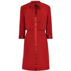 Karen Millen Pretty 60s Shirt Dress, Dark Red (1 895 ZAR) ❤ liked on Polyvore featuring dresses, maxi dresses, long-sleeve maxi dresses, long-sleeve midi dresses, sleeved maxi dress and long sleeve mini dress