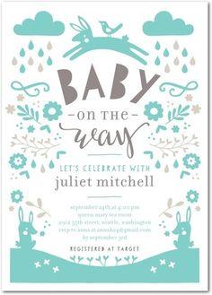 Cheerful Rain - Baby Shower Invitations - Tallu-lah - Reef - Blue : Front