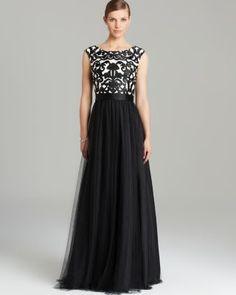 Aidan Mattox Gown - Cap Sleeve Printed Tulle Skirt | Bloomingdale's