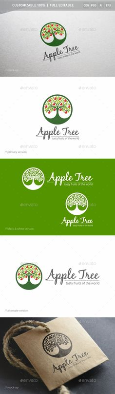 Apple Tree - Logo Design Template Vector #logotype Download it here: http://graphicriver.net/item/apple-tree-logo-template/13001325?s_rank=464?ref=nexion