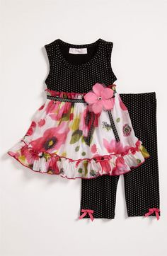Bonnie Baby Dress & Leggings (Infant) available at Nordstrom Toddler Dress, Toddler Outfits, Kids Outfits, Frocks For Girls, Kids Frocks, Little Dresses, Little Girl Dresses, Baby Dresses, Peasant Dresses
