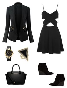 """""""Classy black and gold"""" by liz-lite on Polyvore featuring Topshop, Whistles, Versace, House of Harlow 1960 and MICHAEL Michael Kors"""