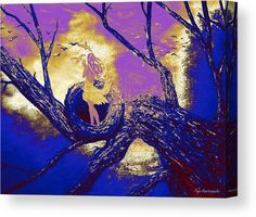 Canvas Print, girl,woman,lady,figure,female,feminine,tree,nest,nature,trunk,branches,calm,scene,glorious,sky,light,nnightfall,nightscapes,sunsets,birds,doves,pigeons,high,height,habitat,forest,moody,atmospheric,fantasy,magical,mystical,mystery,dreamy,dreamscapes,surreal,modern,contemporary,style,golden,blue,white,shades,in,on,at,up,of,with,the,a,fine,art,digital,mixed,media,painting,artworks,products,items,for sale,online,fine art america